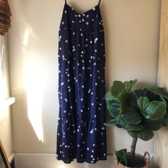 NWOT Joe Fresh Women's Navy Blue Dot Maxi Dress